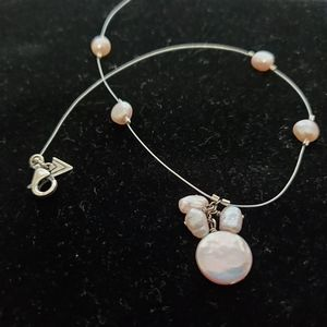 Silpada SS Cable Pink Pearl Station Necklace